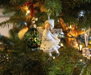 Angel ornament with Hope across her chest.