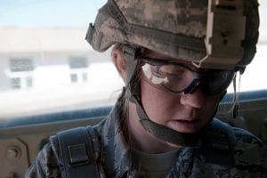 Female soldier in uniform, in Afghanistan