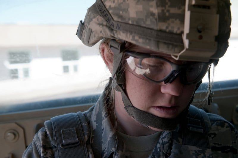 Female soldier in uniform, in Afghanistan